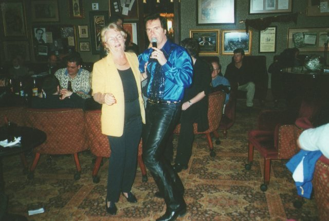 And mother came too...mary Fox serenaded by 'Elvis' but singing a Tom Jones tune because he didn't know any Welsh songs!!