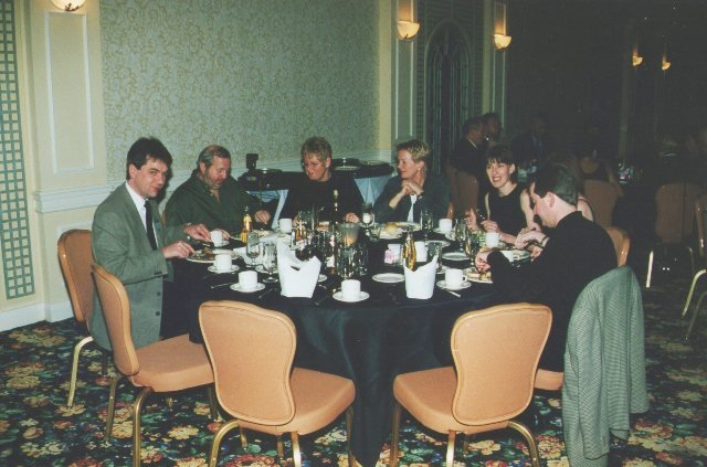 'Chowing Down' at the prize presentation with on my left my late great buddy Peter Van Raamsdonk with his wife Joke...Brian Fox and the WAGS!