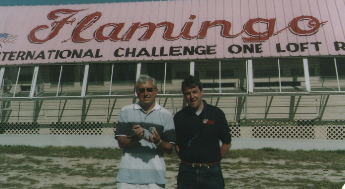 With Mike at Johnny Gallaghers Flamingo Race in Florida having just won 8th in the final with a daughter of De Joep who would become the grandfather to our great breeder 'Super 8'...
